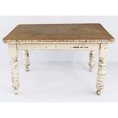 Rustic Australian Kauri Pine Kitchen Table with Painted Legs Late 19th Century