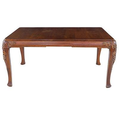 Good French Art Deco Solid Walnut Ten Person Extension Dining Suite Circa 1925