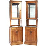 Pair of Impressive French Belle Epoque Walnut Tall Vitrines Late 19th Century