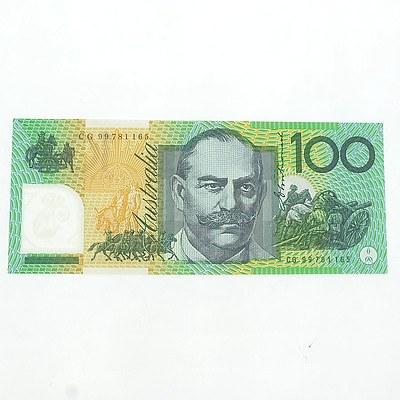 Australian Uncirculated $100 Macfarlane/ Evans Polymer Note, CG 99781165