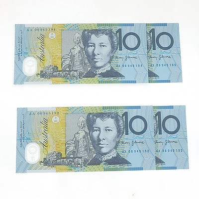 Four Consecutively Numbered Uncirculated $10 Notes, AA06945192- AA06945195