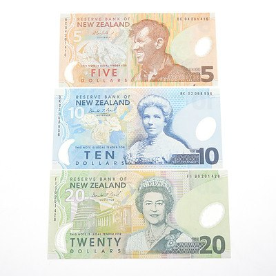 Three 1999 New Zealand Banknotes, including $5, $10 and $20