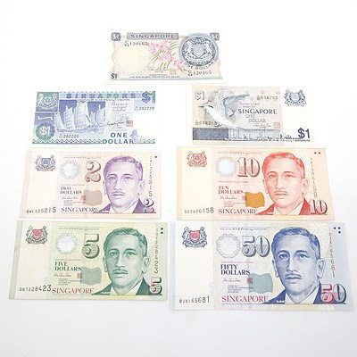 Group of Singaporean Banknotes, including $5, $10, $50 and More