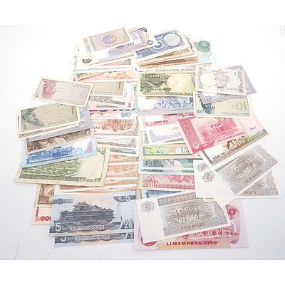 Large Group of Banknotes From Thailand, Myanmar, Philippines, Vietnam, and More