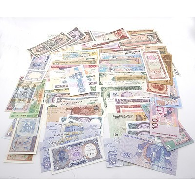 Large Group of Banknotes From Jamaica, Ecuador, Brasil, Tunisia, Cuba, and More