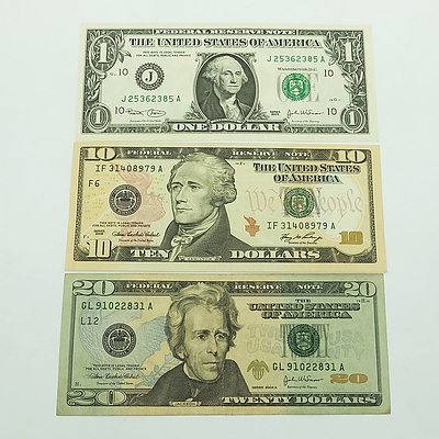 Group of American Banknotes, including $20, $10 and $1