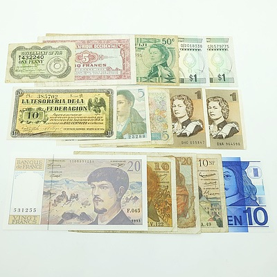 Group of International Banknotes, including Netherlands 10 Gulden, France 10 Nouveaux Francs, Two Australian $1 Notes, and More