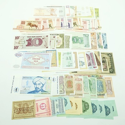 Group of International Banknotes, including India, Peru, Brazil, and More