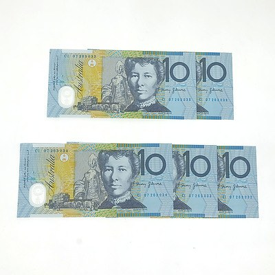 Five Consecutively Numbered Uncirculated Stevens/Henry $10 Notes, CI07263032- CI07263036