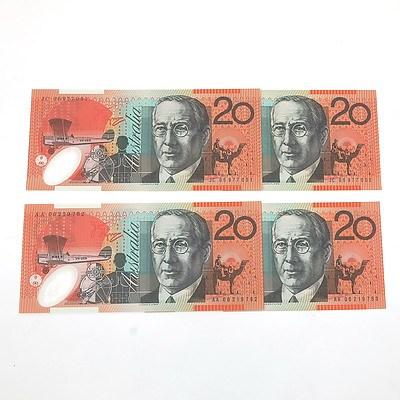 Two Sets of Consecutively Numbered First and Last Prefix 2006 $20 Notes
