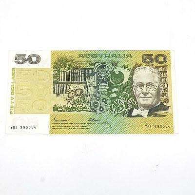 Australian Uncirculated $50 Fraser/ Johnston Paper Note, YRL390504