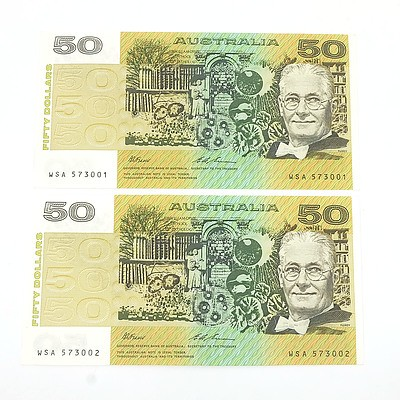 Two Consecutively Numbered Uncirculated $50 Fraser/ Evans Paper Notes, WSA573001-WSA573002