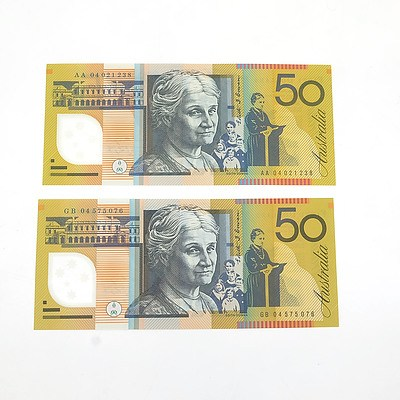 2004 First and Last Prefix Uncirculated $50 Macfarlane / Henry Polymer Notes, AA040251238 and GB04575076
