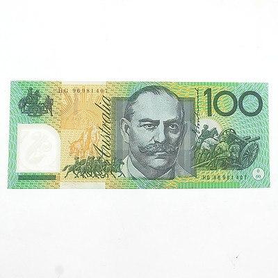 Australian Uncirculated $100 Macfarlane/ Evans Polymer Note, HG 96981407
