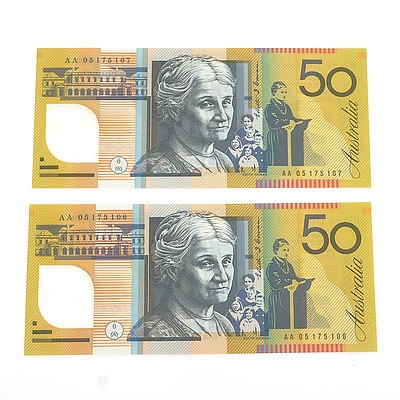 Two 2005 First Prefix Consecutively Numbered Uncirculated $50 Macfarlane / Henry Polymer Notes, AA05175107 and AA05175108