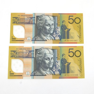 Two Consecutively Numbered Uncirculated $50 Macfarlane / Henry Polymer Notes, JC05305087 and JC053050878