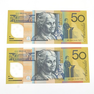 Two 2006 First Prefix Consecutively Numbered Uncirculated $50 Macfarlane / Henry Polymer Notes, AA06348737 and AA06348738
