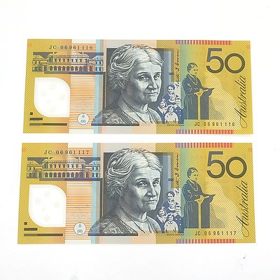 Two 2006 Last Prefix Consecutively Numbered Uncirculated $50 Macfarlane / Henry Polymer Notes, JC06961116 and JC06961117