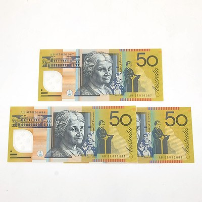Three 2006 Consecutively Numbered Uncirculated $50 Stevens/ Henry Polymer Notes, AB07820087-AB07820089