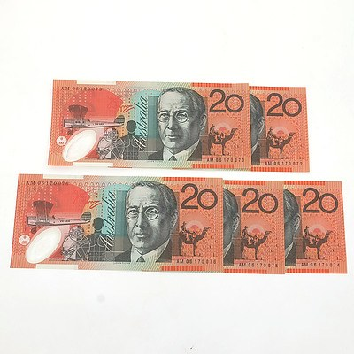 Five 2006 Consecutively Numbered Uncirculated $20 Macfarlane / Henry Polymer Notes, AM06170072 - AM06170076