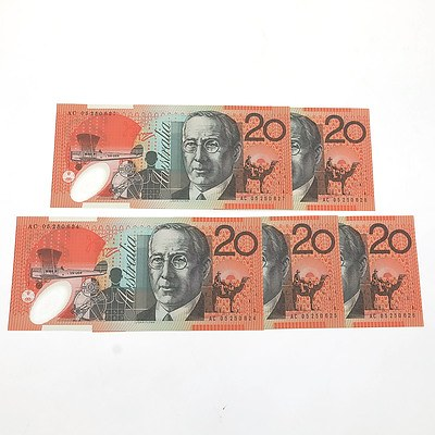 Five 2006 Consecutively Numbered Uncirculated $20 Macfarlane / Henry Polymer Notes, AC05250624- AC05250628
