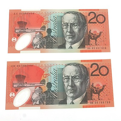 2005 First and Last Prefix Uncirculated $20 Macfarlane / Henry Polymer Notes, AA05967038 and GB05708780