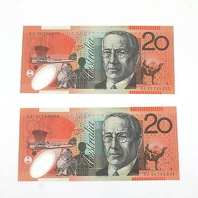 Two 2002 Consecutively Numbered Uncirculated $20 Macfarlane / Henry Polymer Notes, AJ02755033 and AJ02755034
