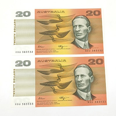 Two Consecutively Numbered Uncirculated $20 Fraser/ Higgins Paper Notes, RDU383532 and RDU383533