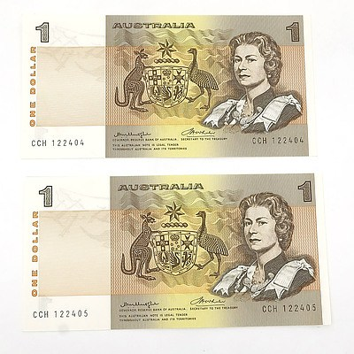 Two Consecutively Numbered Uncirculated $1 Knight / Wheeler Paper Notes, CCH122404 and CCH122405