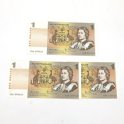 Three Consecutively Numbered Uncirculated $1 Knight / Stone Notes, CXK099450 - CXK099452