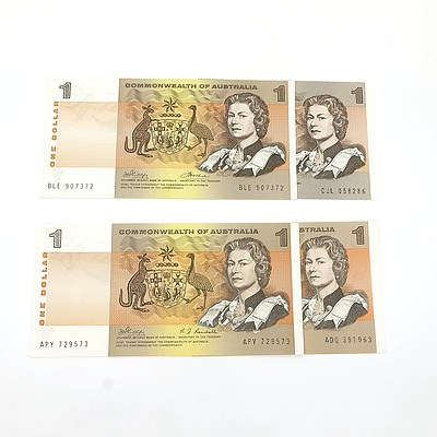 Four Uncirculated $1 Notes, Including Phillips/Wheeler BLE907372 and Coombs/Wilson ADQ391963