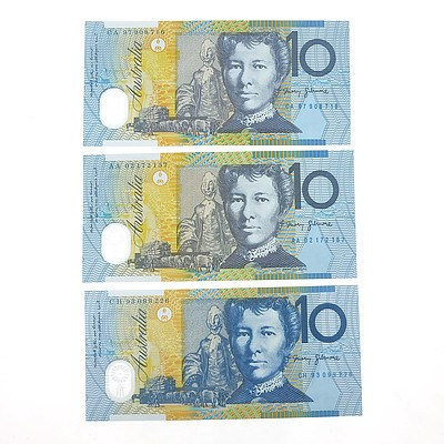 Three Uncirculated $10 Polymer Notes, Including 2002 First Prefix  AA02172157