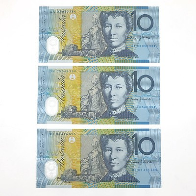 Three Uncirculated $10 Polymer Notes, Including 2003 First and Last Prefix