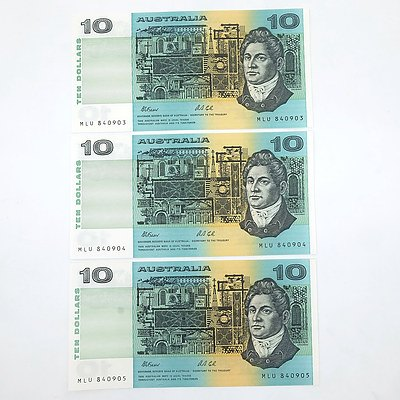 Three Consecutively Numbered Uncirculated $10 Fraser/ Cole Paper Notes, MLU340903- MLU340905