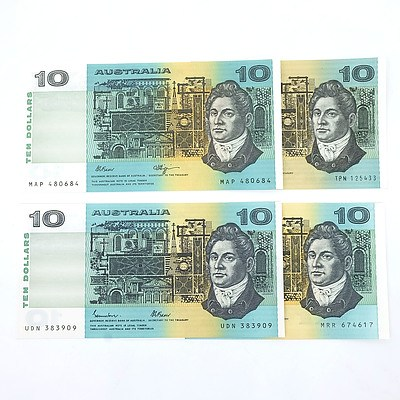Four Uncirculated $10 Paper Notes, Including Knight/Stone TPN125433 and Fraser/Cole MRR674617