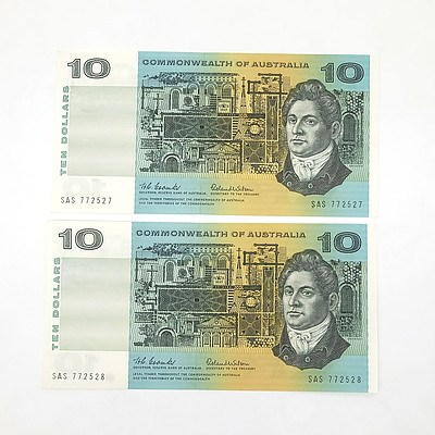 Two Consecutively Numbered Uncirculated $10 Coombs/ Wilson Paper Notes, SAS772527- SAS772528