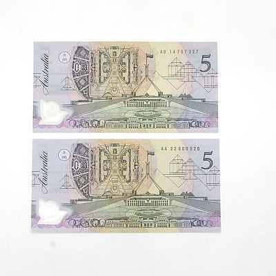 Two Uncirculated 1992 Cole /Fraser $5 Polymer Notes, Medium to Dark Green Serial Number