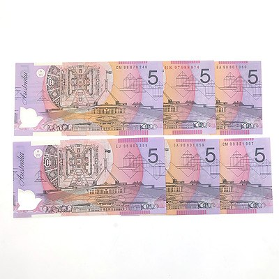 Six Uncirculated $5 Notes, Including Red Serial HK97988874 and Consecutively Numbered 1988 Pair EA98801059 and EA98801060