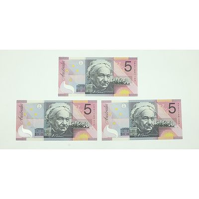 Three Uncirculated 2001 Centenary of Federation $5 Notes, Including First and Last Prefix