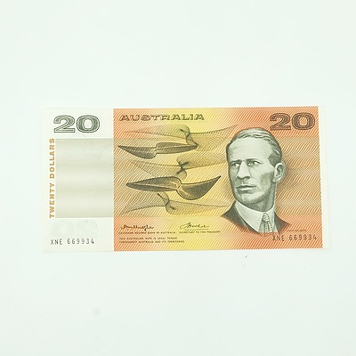 Uncirculated Knight/ Wheeler Centre Thread $20 Note, XNE669934