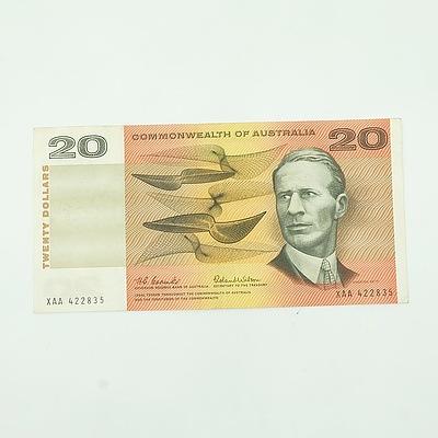 1966 Commonwealth of Australia Coombs/Wilson First Prefix $20 Note, XAA422835