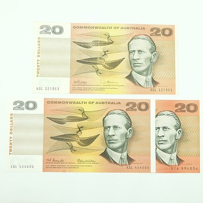 Three $20 Paper Notes, Including Coombs/ Wilson XAL454606 and Phillips/Wheeler XGL321065