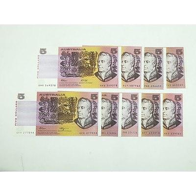 Nine Australian $5 Notes, Including Phillips/ Randall NFL516086, Johnston/Fraser PYK274724 and More