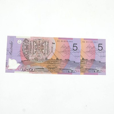 2005 First and Last Prefix Uncirculated Australian $5 Macfarlane/ Henry Polymer Notes, BA05107907 and KC05934440