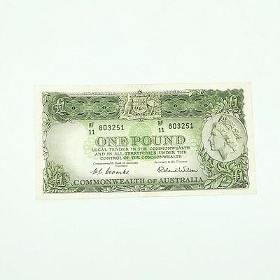Commonwealth of Australia Queen Elizabeth II One Pound Banknote