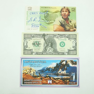 Three Novelty Notes, Including American One Million Dollars and Steve Irwin $2 Note