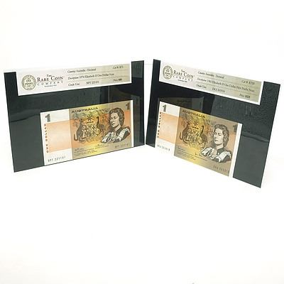 Two Australian Uncirculated $2 Paper Notes, Johnston/Stone DGJ263918 and Phillips/Wheeler BPT221101