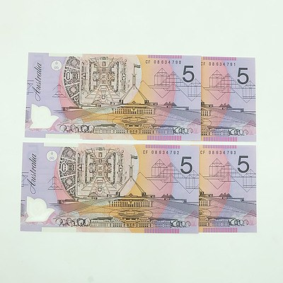 Four 2008 Consecutively Numbered Uncirculated $5 Polymer Notes, CF08634790-CF08634793