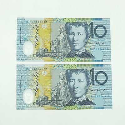 Two 2008 Consecutively Numbered Uncirculated $10 Polymer Notes, BH08560052-BH08560053