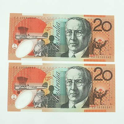 Two 2010 Consecutively Numbered Uncirculated $20 Polymer Notes, CJ10560641-CJ10560642